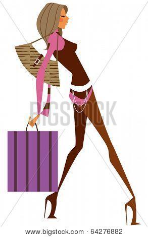 sexy girl holding shoppingbag
