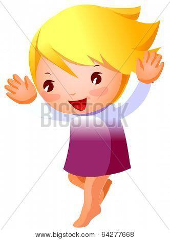 cute girl handsup and jumping