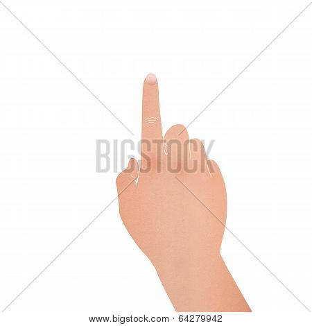 Paper Cut Of Hand With Pointing Symbol Is Touch To Screen On White Background