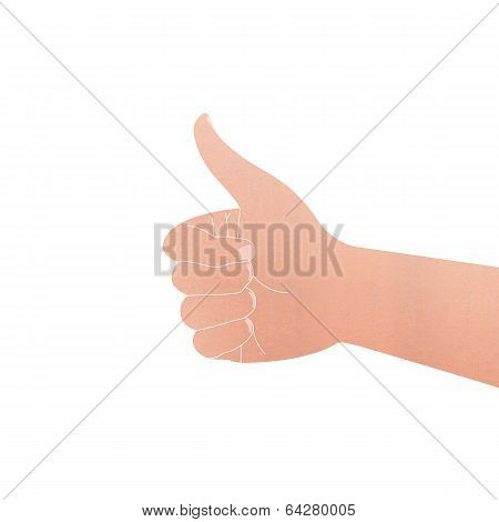 Paper Cut Of Isolated Hand With Thumb Symbol Is Like On White Background