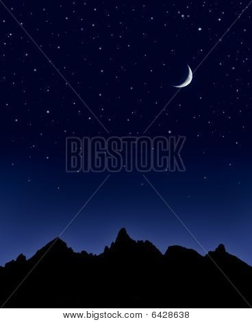 Mountain Moon And Stars