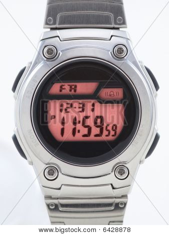 Digital Watch Close Up With Red Face