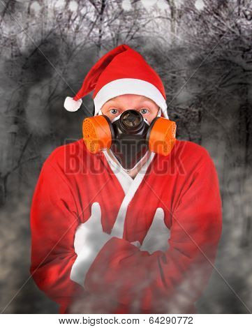 Santa Claus In Gas Mask
