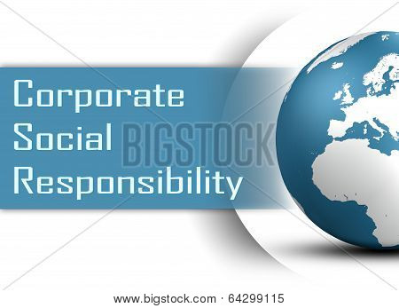 Corporate Social Responsibility concept with globe on white background poster
