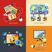 flat design concept of web design seo social media and pay per click poster