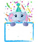 Adorable Baby Elephant Wearing A Party Hat, Looking Over A Blank Starry Sign With Colorful Confetti. Raster version.   poster