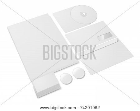 Blank paper office stationery template set isolated on white background vector illustration poster