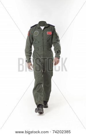 Fighter pilot body without head