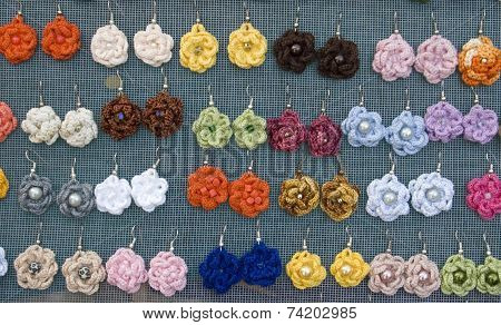 Handmade Earrings  Made Of Wool And Plastic