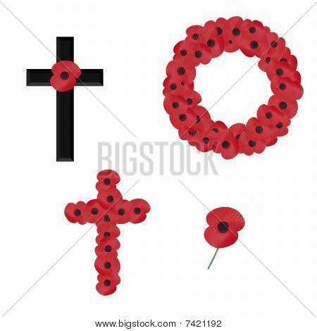 4 remembrance sunday vectors on white