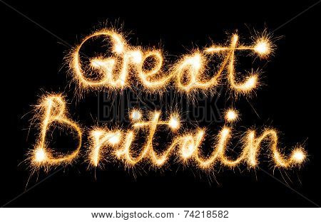 Great Britain made of sparkles on black background poster