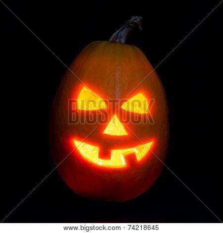 Halloween pumpkin jack-o-lantern candle lit isolated on black background poster