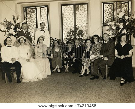 USA- CIRCA 19s: Vintage photo shows wedding.