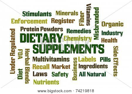 Dietary Supplements word cloud on white background poster