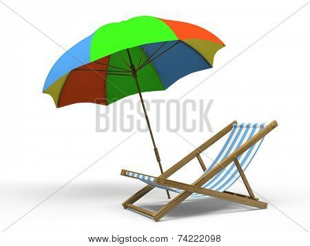 Chaise longue and sunshade isolated on white background