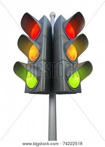 Traffic light isolated on white background 3D rendering