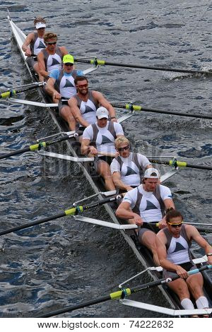 Taurus Boat Club races in the Head of Charles Regatta Men's Championship Eights