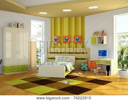 Modern interior of the child-room 3D rendering