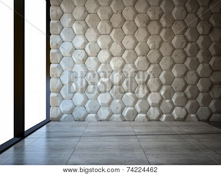 Empty room with stone wall and parquet floor 3D poster