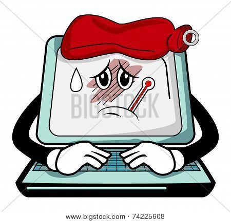 Sick computer cartoon