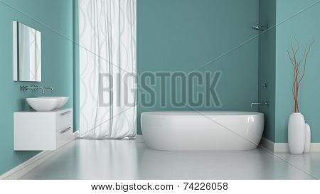 Interior of modern bathroom with blue walls 3d