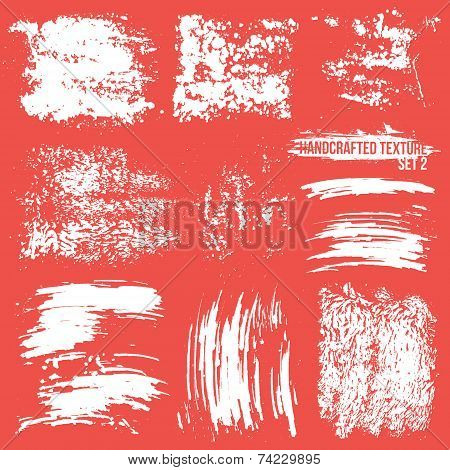 Expressive handcrafted texture set smears White to red background poster