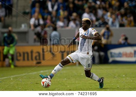 CARSON, CA - OCT 19: Gyasi Zardes in action during the Los Angeles Galaxy MLS game against the Seattle Sounders on October 19th 2014 at the StubHub Center.