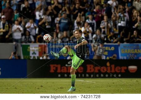 CARSON, CA - OCT 19: Chad Marshall during the Los Angeles Galaxy MLS game against the Seattle Sounders on October 19th 2014 at the StubHub Center.