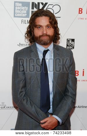 NEW YORK-OCT 11: Actor Zach Galifianakis attends the Closing Night Gala Presentation of 'Birdman Or The Unexpected Virtue Of Ignorance' at New York Film Festival on October 11, 2014 in New York City.