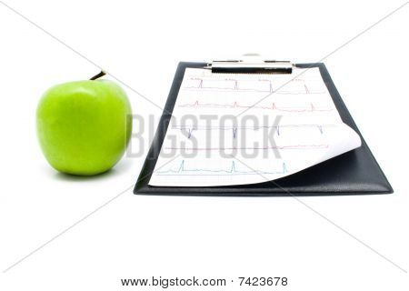Plane-table With A Cardiogram And Apple