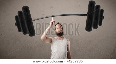 Funny skinny guy lifting incredible weights poster
