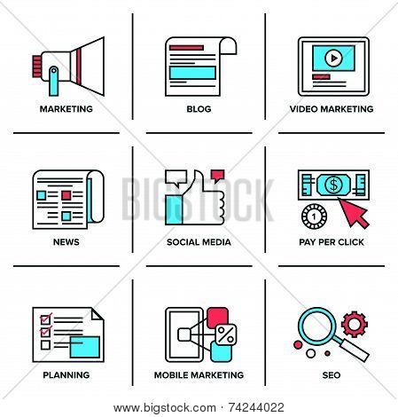 Digital And Social Media Marketing Line Icons Set