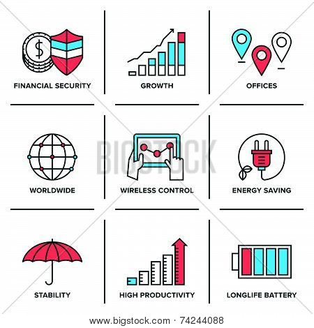 Growth And Stability Line Icons Set