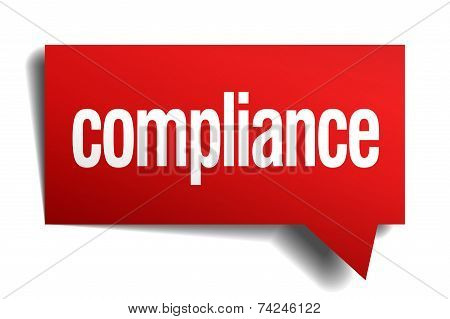 Compliance Red 3D Realistic Paper Speech Bubble