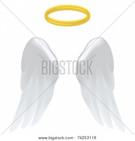 Angel wings and a halo isolated on white. poster