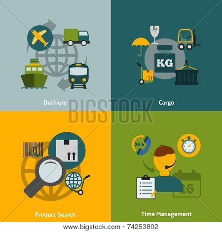 Logistic flat icons composition