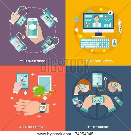 Digital health icons set flat