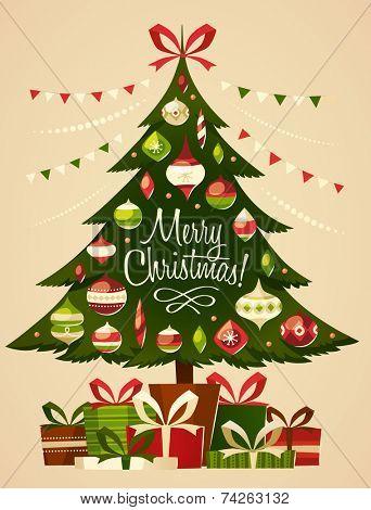 Christmas tree with gifts. Christmas card.