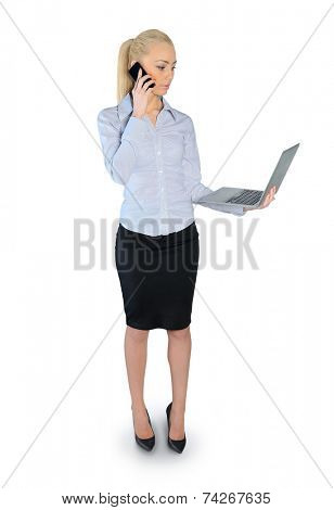 Isolated buesiness woman talking phone