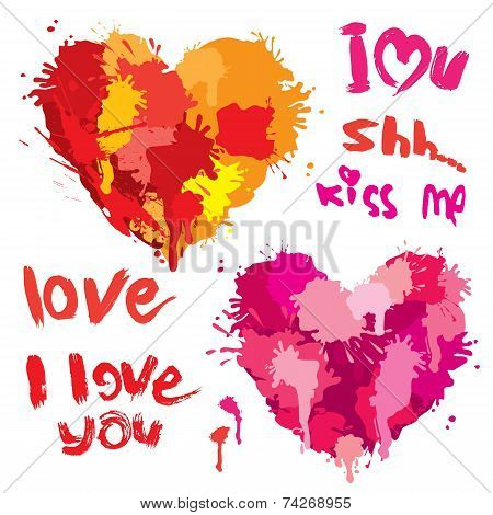 Set of Heart shapes are made of brush strokes and blots and handwritten text I love you - elements for Valentines Day or wedding design. poster