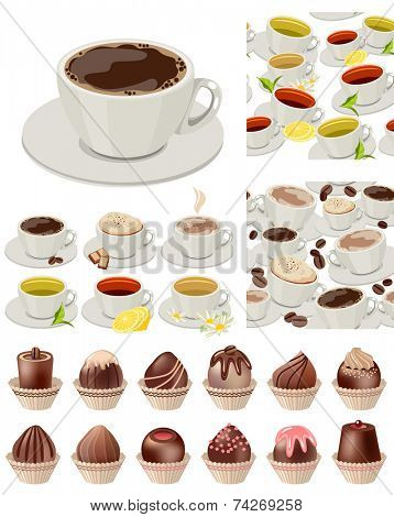 Big realistic set with cups of tea and coffee, sweets and chocolates. Objects isolated on white. Plus two seamless patterns with cups of tea and coffee.  Vector illustration.