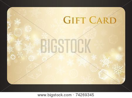Exclusive Cream Christmas Gift Card With Stream Of Golden Snowflakes