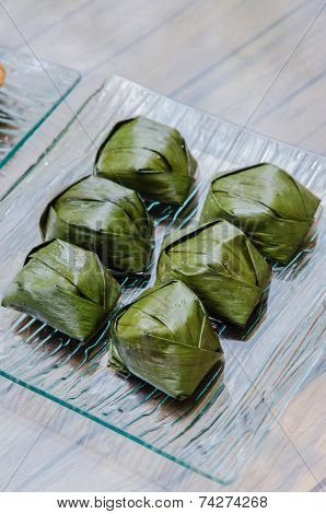 Traditional Malaysia Dessert Wrapped With Banana Leave