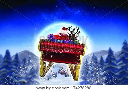 Santa flying his sleigh against cute christmas village under huge full moon poster