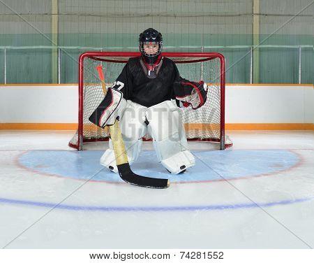 Young Kid Goalie In Hockey Net Crease