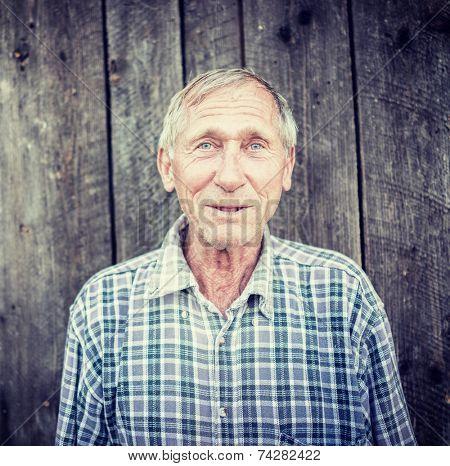 Happy smiling elder senior man portrait poster