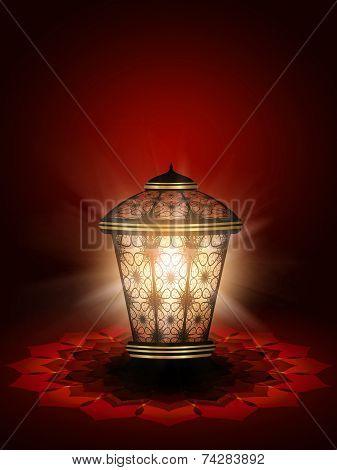 Diwali Lantern Shining Over Dark Red Background