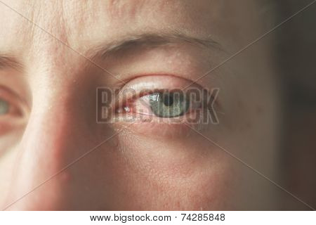 Close Up On Crying Eyes Of Woman