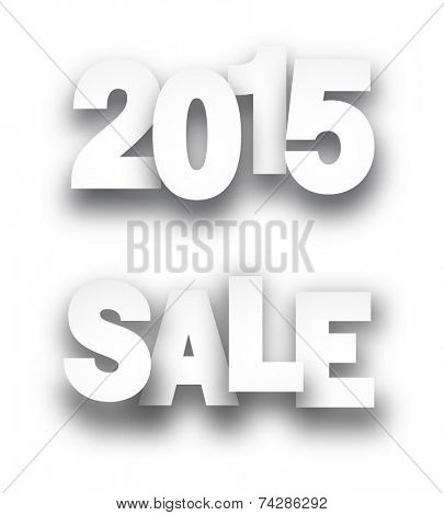 Paper sale 2015 new year signs over white background. Vector illustration.