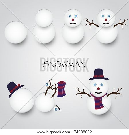 White Winter Happy Snowman Building Eps10